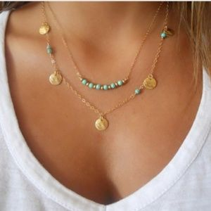 Jewelry - Dainty Gold and Turquoise Double Layered Necklace